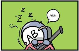 AB sangat mudah mengantuk di dalam mobil